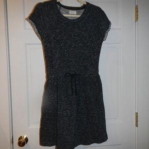 Lou & Grey Blk/Grey/White Space Dye Dress Medium